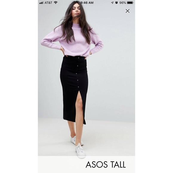 5713ad3bd6 ASOS Skirts | Tall Ribbed Skirt In Black | Poshmark